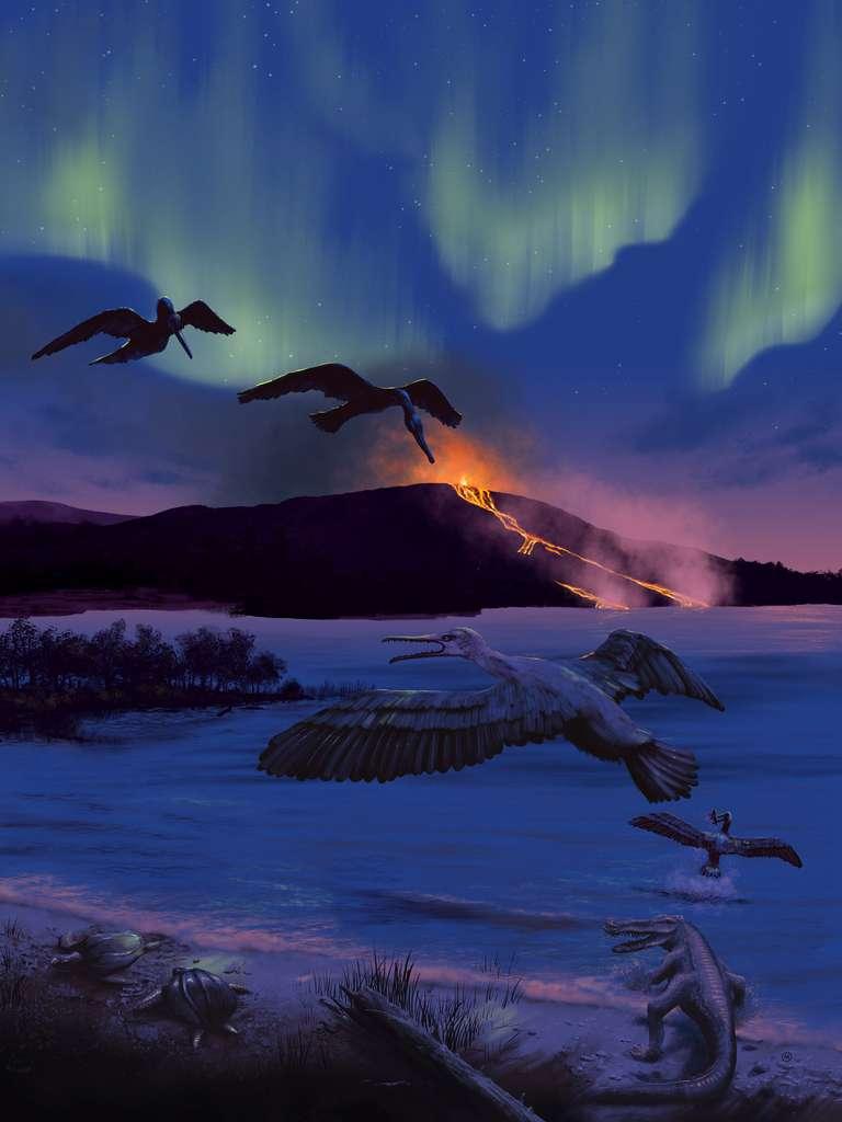 Une reconstitution de ce milieu, chaud, humide et poissonneux. On remarque l'activité volcanique, que soulignent les auteurs de l'étude. © University of Rochester, Michael Osadciw