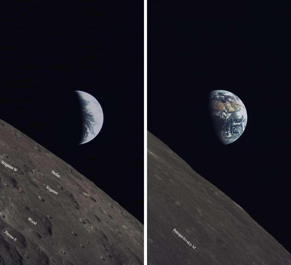 La Terre et des régions de la face cachée de la Lune vues depuis le micro-satellite Longjiang et sa caméra saoudienne. © CNSA/CLEP/KACST