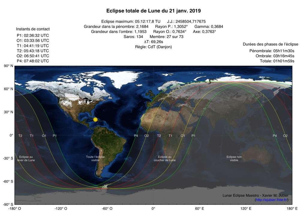 Zone de visibilité de l'éclipse totale de Lune du 21 janvier. © Xavier Jubier
