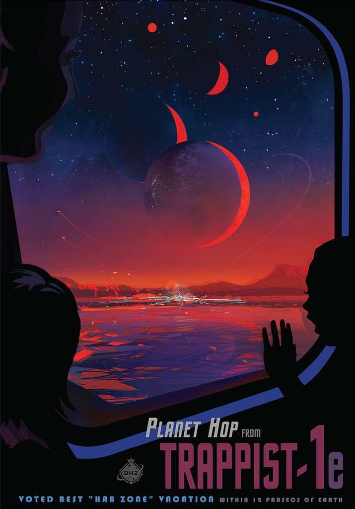 Envie d'aller passer vos vacances sur l'exoplanète Trappist-1e ? À la vitesse de la lumière, cela ne prendra que 40 ans pour y aller ! (Affiche de la Nasa.) © Nasa, JPL-Caltech