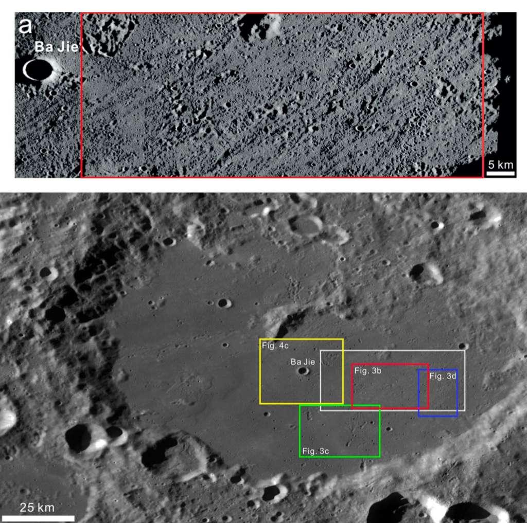 Le cratère Von Kármán à l'intérieur duquel se posera le rover Chang'e 4. En rouge, la zone visée. © CNSA