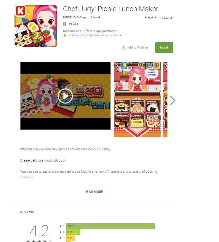Une capture d'écran de la page de présentation de l'application Android « Chef Judy : Picnic Lunch Maker », qui installait un malware de fraude publicitaire. Le logiciel en lui-même était inoffensif et jouissait de très bonnes critiques. © Check Point