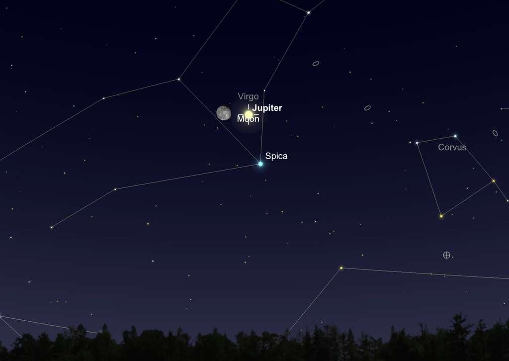 Le 14 mars, en direction du sud-est, la Lune et Jupiter brillent ensemble au-dessus de Spica, l'étoile la plus brillante de la Vierge. © SkySafari
