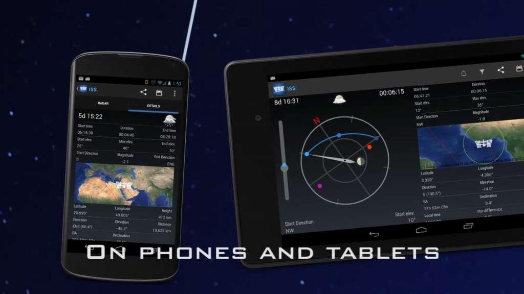 L'application Android ISS Detector a une allure un peu austère mais elle est très effecicace. © ISS Detector