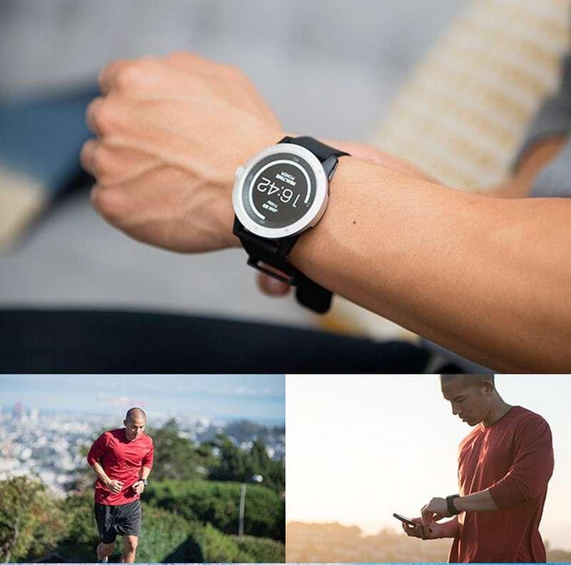La montre connectée PowerWatch affiche les calories consommées ainsi que la quantité d'énergie thermoélectrique produite. L'interface peut être personnalisée avec différents cadrans numériques. © Matrix Industries