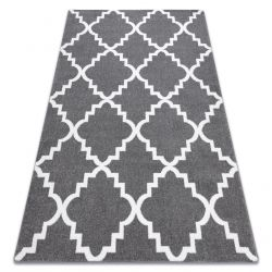 tapis sketch f343 gris et blanc trefle marocain trellis