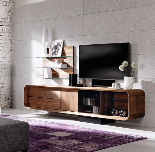meuble tv design en noyer ou en chene