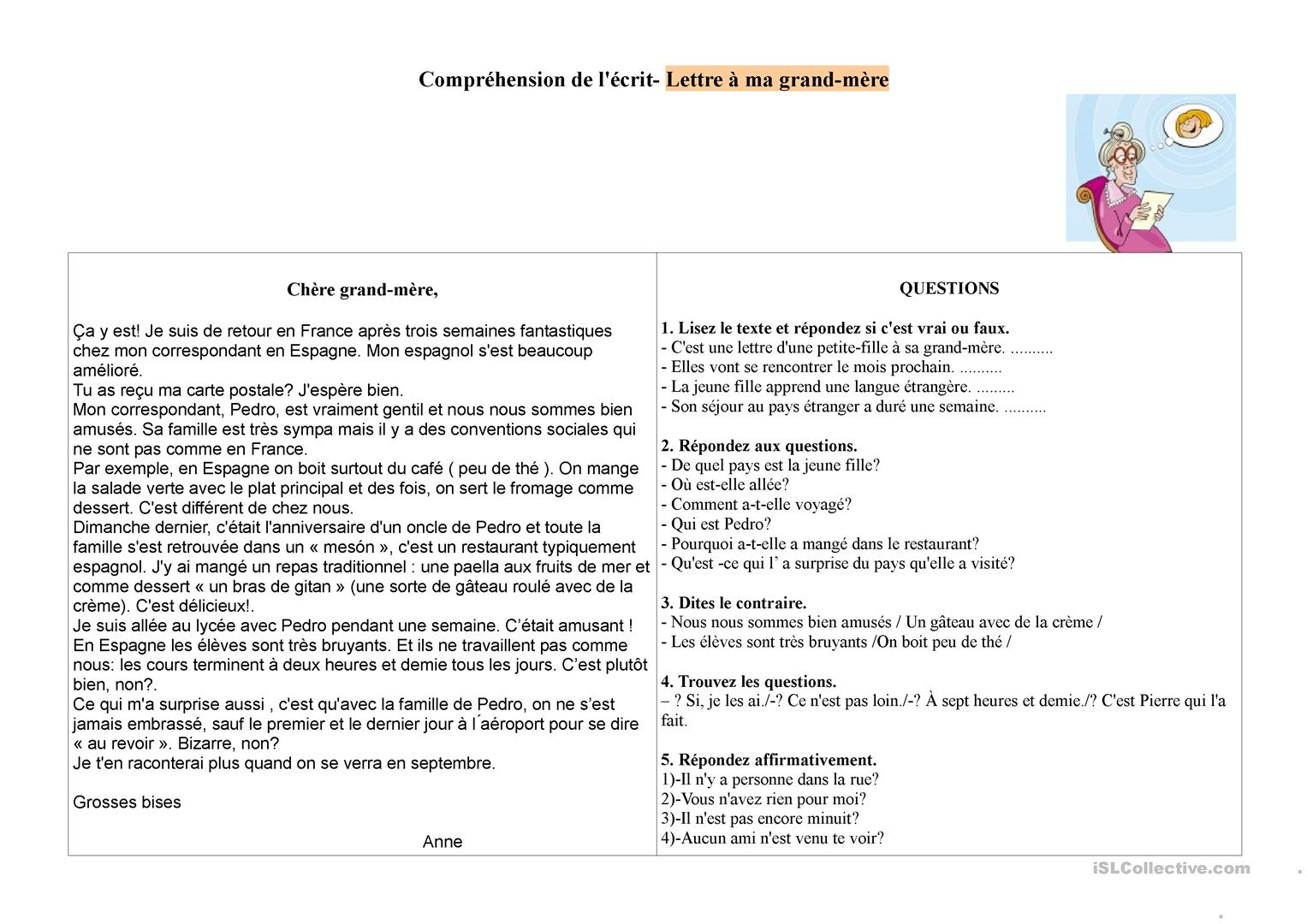 Lettre A Ma Grand Mere Fiche D Exercices