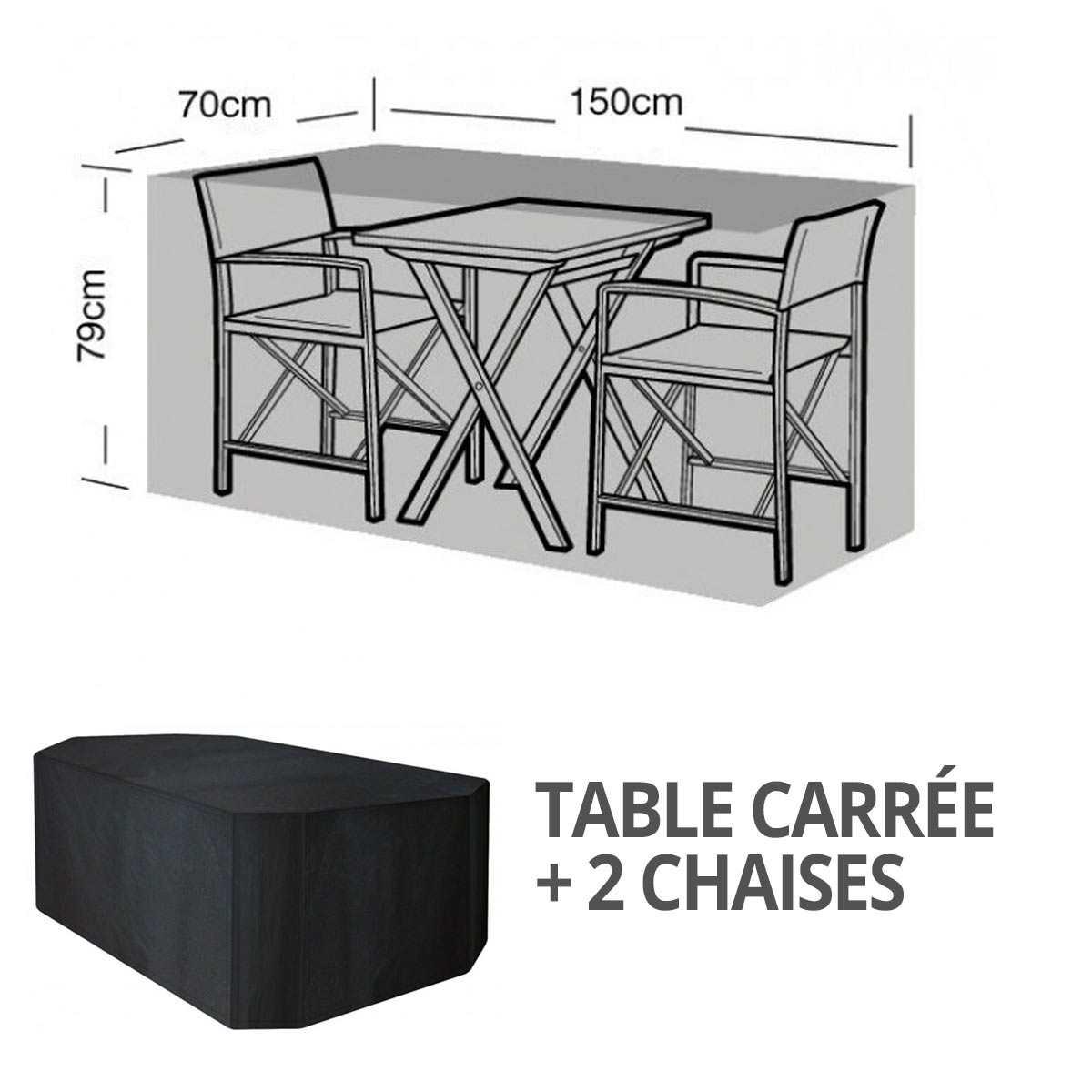 housse bache protection table bistro carree 2 chaises long 150cm vente au meilleur prix