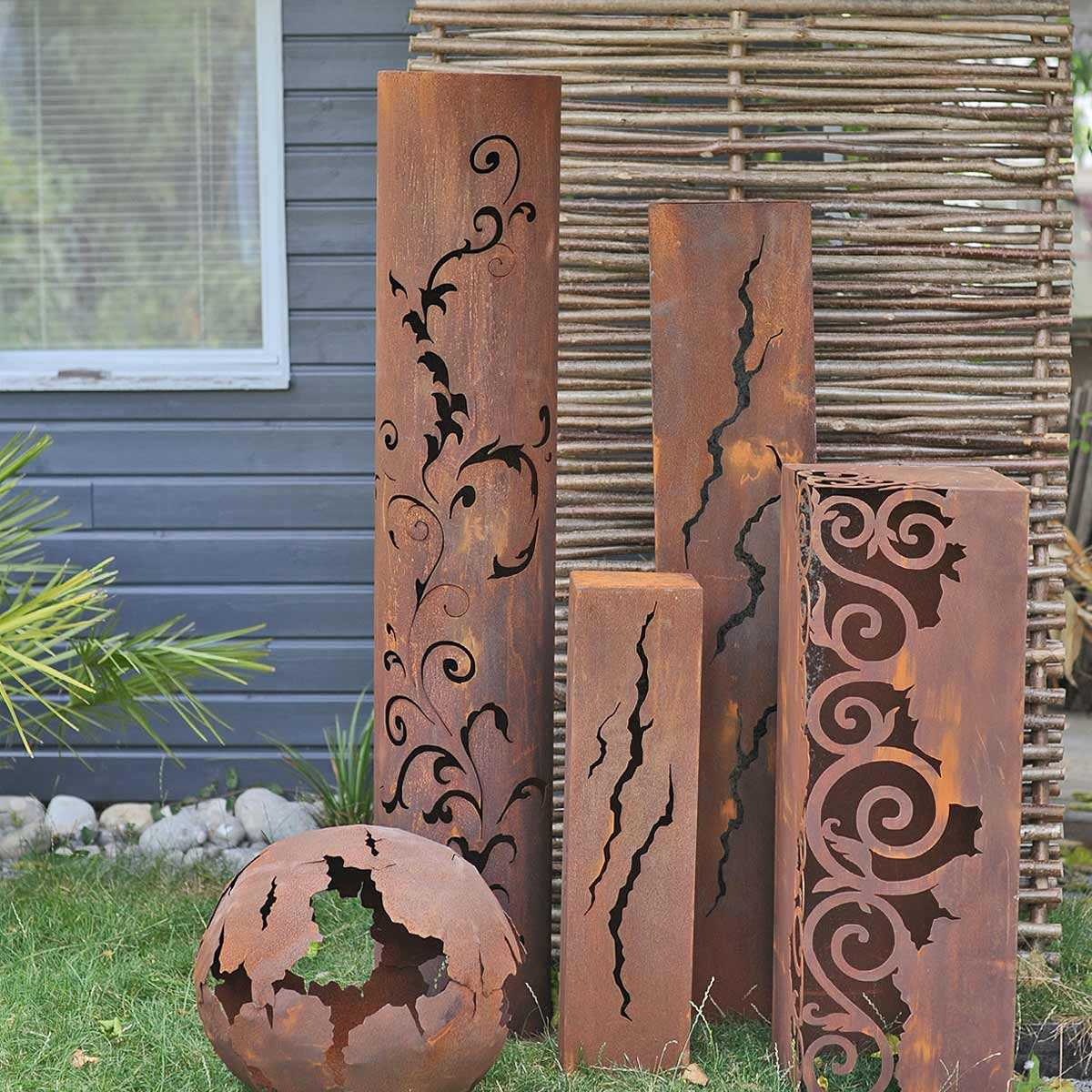 colonne piedestal deco metal jardins animes