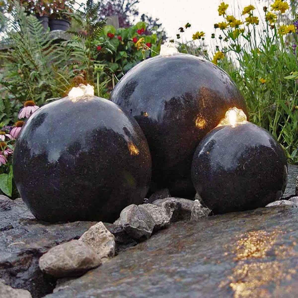 fontaine de jardin lumineuse 3 spheres