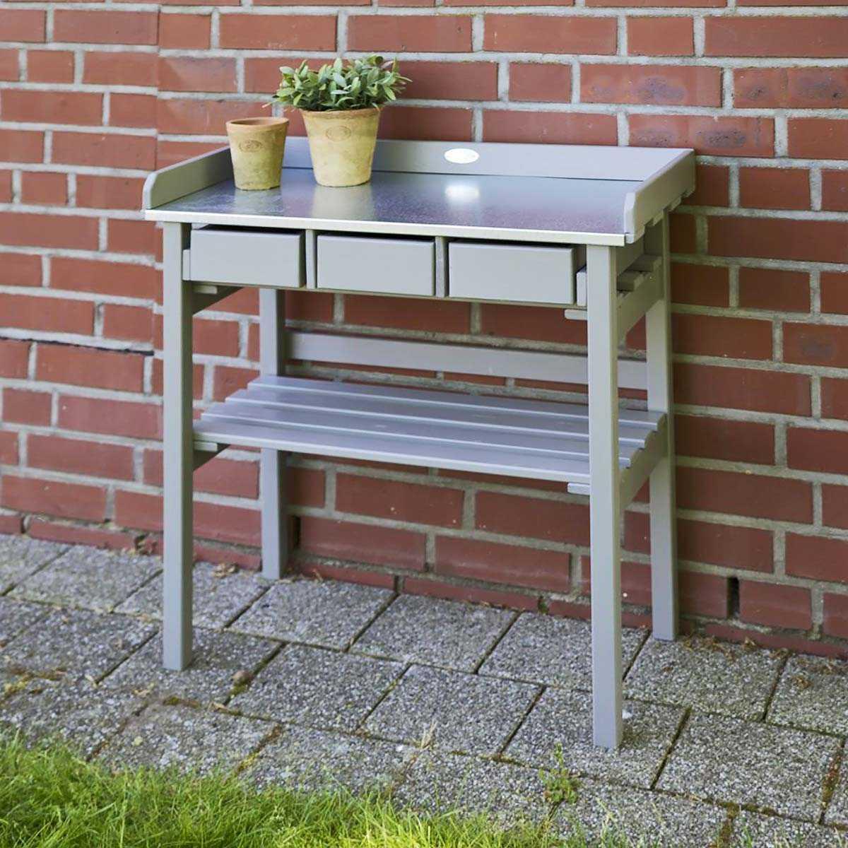 table de rempotage bois zinc