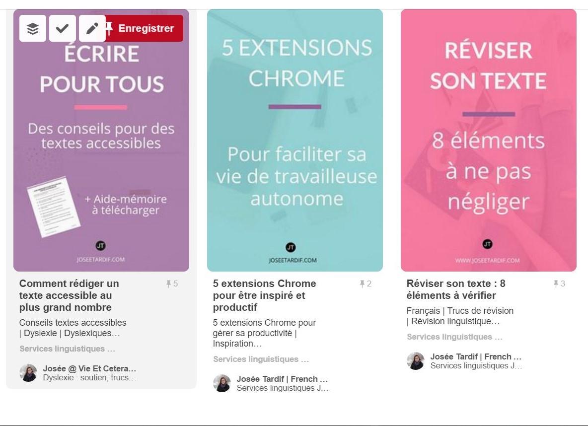 Exemple d'épingles enrichies sur Pinterest. Services linguistiques Josée Tardif