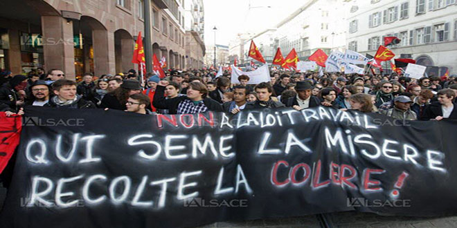 Photo des manifestants contre la loi travaille en France.