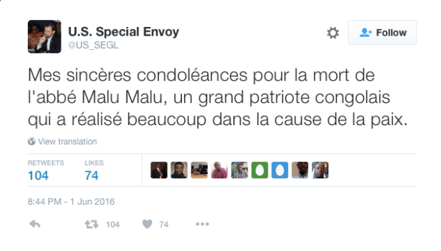 U.S. Special Envoy tweet on Malumalu death, dated 01 June 2016.