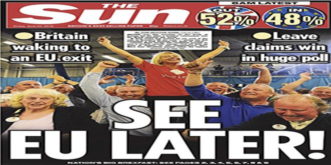 Front page d'un journal britannique
