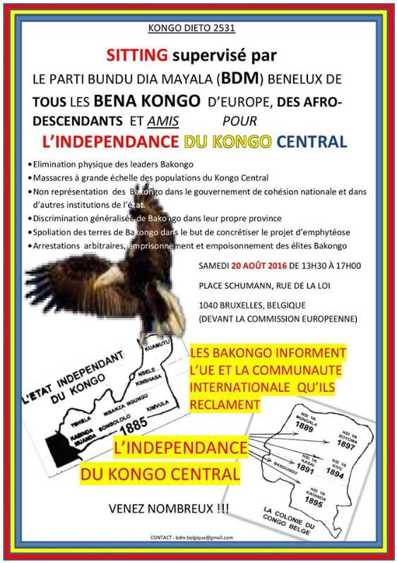 Copie de l'invitation pour le samedi 20.08.2016 où l'on peut repérer la soi-disant carte géographique imaginée par l'infiltré Tutsi-Rwandais Zacarias Badiangela alias François Muanda Nsemi : un imposteur, escroc, faussaire et gourou de Bundu Dia Mayala