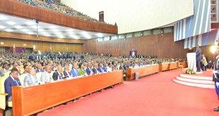 Joseph Kabila lors son discours sur l'etat de la nation ce jeudi 19 juillet 2018, devant les deux chambres du parlement réunies en congrès, au Palais du Peuple
