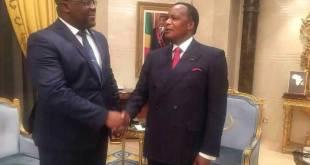 Poigne de main Fatshi et Sassou Nguesso