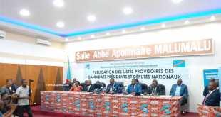 Publication de la liste provisoire des candidats dans la Salle Abbe Apollinaire Malumalu, CENI RDC.