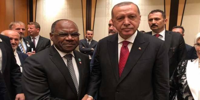 Poignée de main entre Leonard She Okitundu et Recep Tayyip Erdogan.