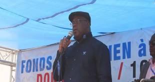 Felix-Antoine TSHILOMBO TSHISEKEDI, lors d'un meeting, Kinshasa.