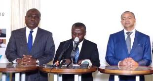 Katumbi [droite] et Fayulu [gauche] à l'issue de la reunion de Lamuka a Bruxelles, samedi 23 Mars 2019.