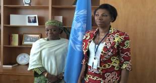 Bangura [left] meeting with Jeanine Mabunda [right].