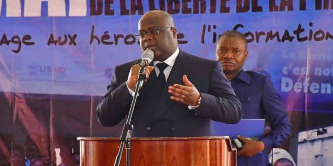 President de la RDC, Felix TSHISEKEDI dit Fatshi, lors de son speech à l'occasion de la journée mondiale de la presse, à Béatrice hôtel à Kinshasa, le 03 Mai 2019.