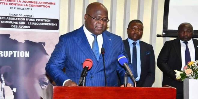 Fratshi, President de la RDC, en train de parler de la corruption.