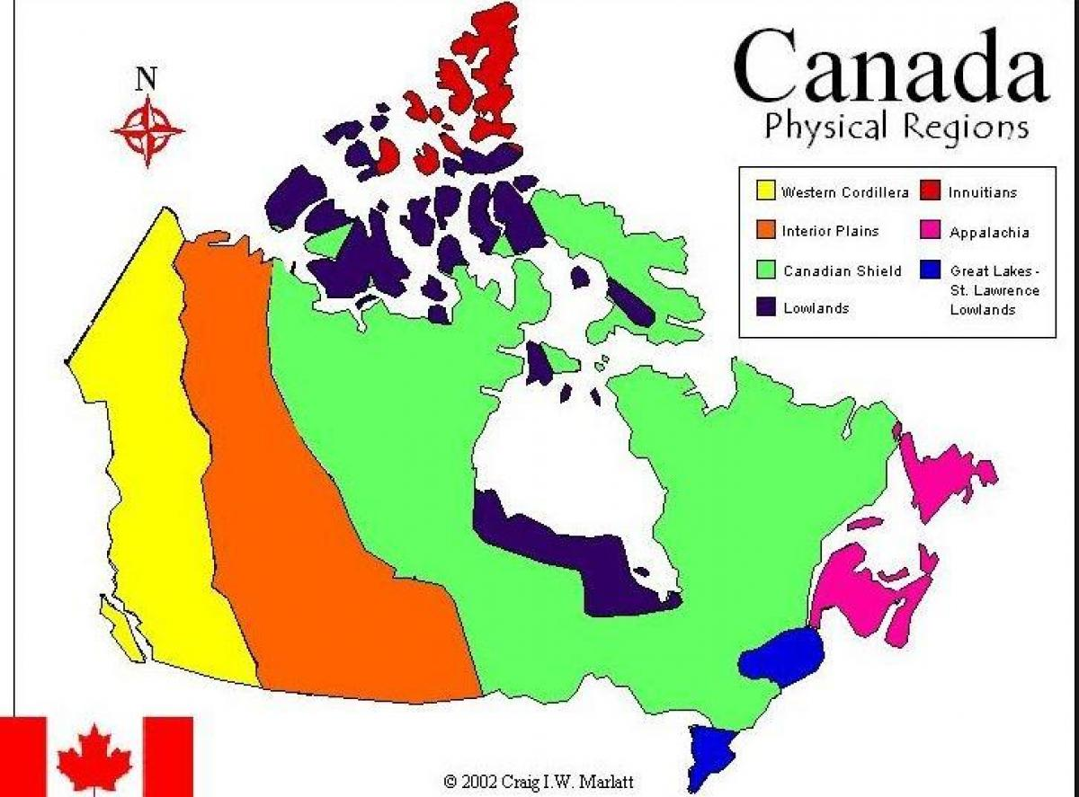 Le Relief Des Regions Du Canada Map