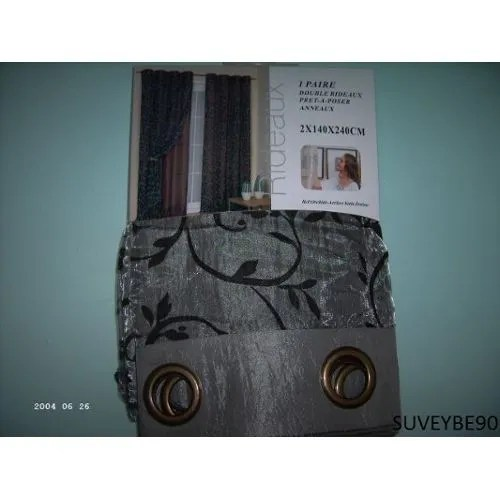 achat double rideaux gris pas cher