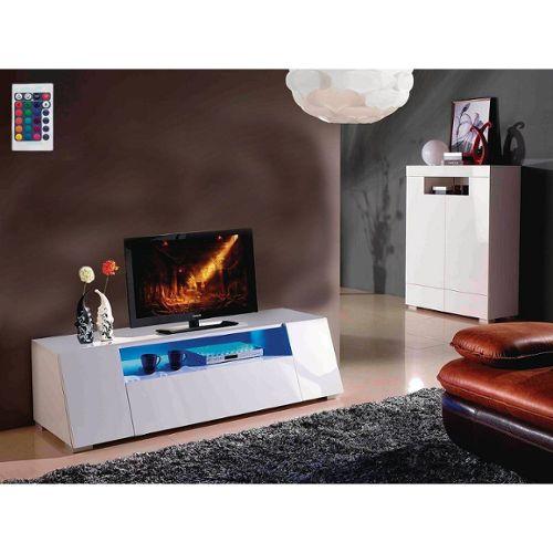 achat meuble tv blanc laque 160 cm a