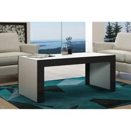 achat table basse noir et blanc laque