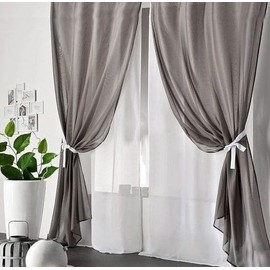 2 rideaux double voile duo 4 panneaux en tissu leger libre 2 blancs et 2 noirs reversibles a oeillets metal tenture de porte fenetre decoration