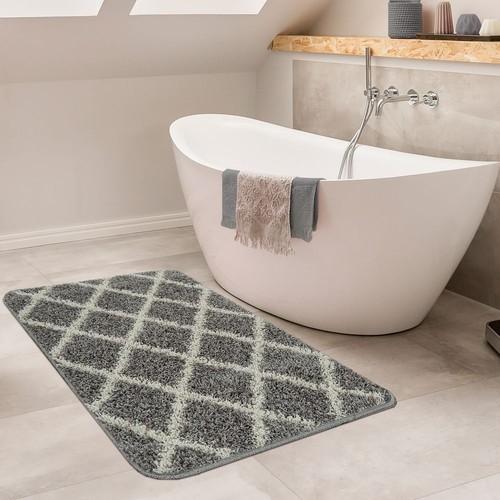 tapis de bain moderne design losanges poils longs tapis salle de bain creme noir 80 cm rond