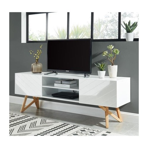 lulea meuble tv scandinave blanc laque