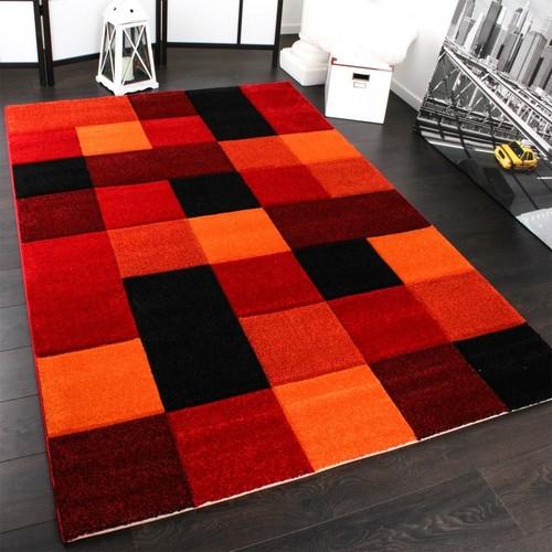 tapis design carreaux moderne fait main contour incorporee rouge noir orange mouchete 200x290 cm