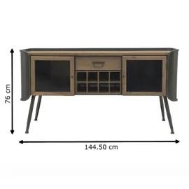 bahut console enfilade meuble tele tv industriel bois fer 144 50 cm x 76 cm