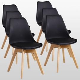 lot de 6 chaises scandinaves noires