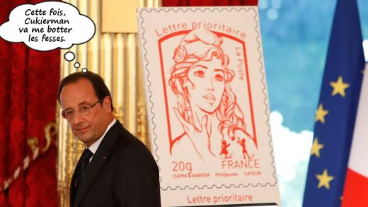 François Hollande et le timbre Marianne effigie femen