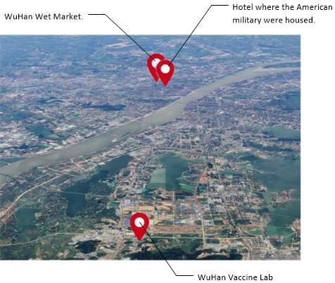 Localisations du laboratoire à vaccins de Wuhan, de l'hôtel des soldats américains et du marché de Wuhan