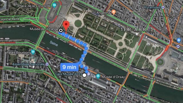 Plan et itinéraire entre le Musée d'Orsay et L'Orangerie