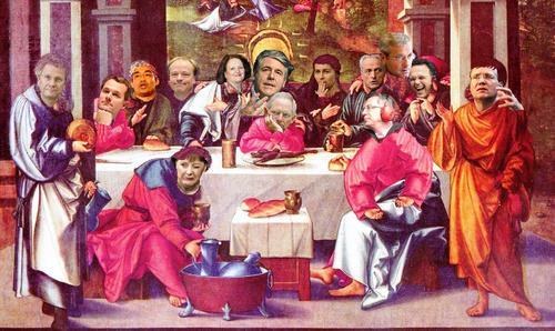Cartoon: Josefs letztes Abendmahl (medium) by Heggi tagged bankenrettung,finanzkrise,merkel,ackermann,eurokrise