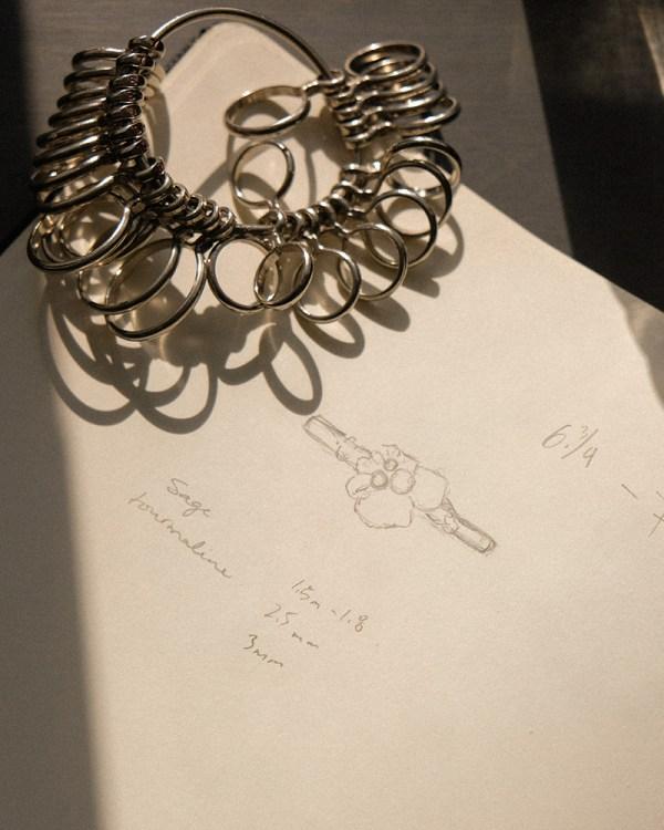 Esquisses pour une bague sur mesure de Jade Boutilier, fondatrice de la marque de bijoux Captve.