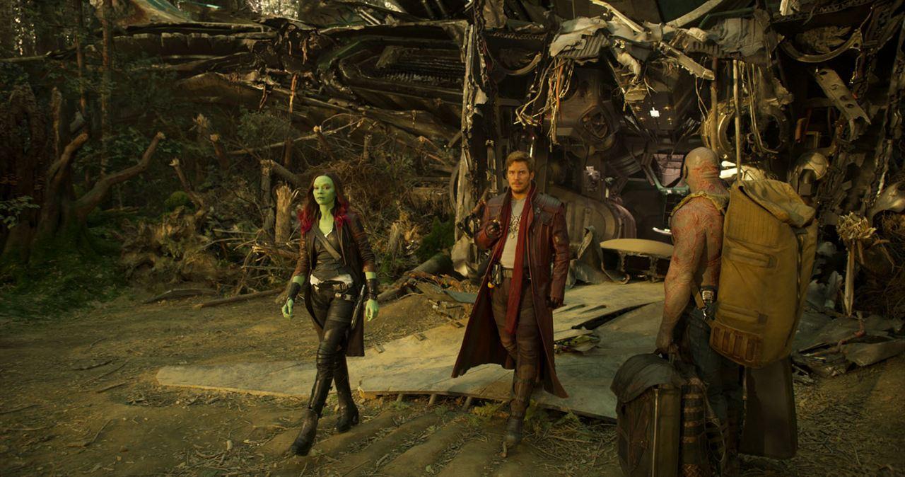 Les Gardiens de la Galaxie 2 : Photo Chris Pratt, Dave Bautista, Zoe Saldana