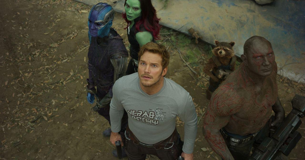 Les Gardiens de la Galaxie 2 : Photo Chris Pratt, Dave Bautista, Karen Gillan, Zoe Saldana