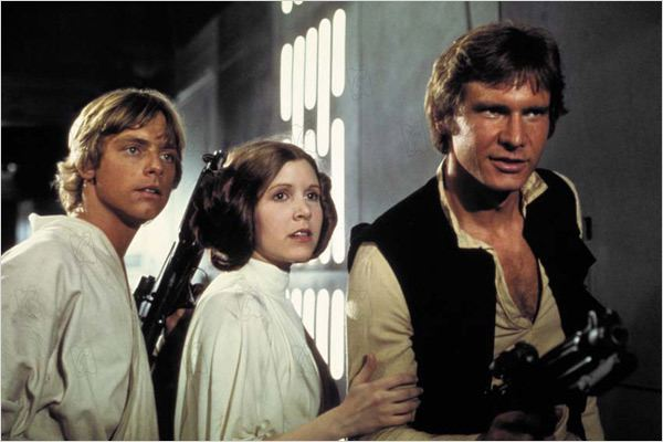 Star Wars : Episode IV - Un nouvel espoir (La Guerre des étoiles) : Photo Carrie Fisher, George Lucas, Harrison Ford, Mark Hamill