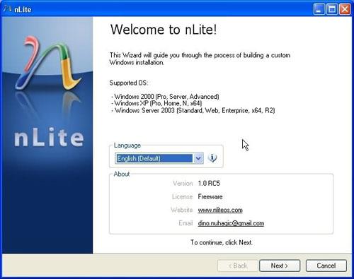 nLite : pour créer un Windows allégé