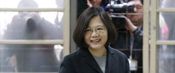 Taiwan's Democratic Progressive Party (DPP) Chairperson and presidential candidate Tsai Ing-wen casts her ballot at a polling station during general elections in New Taipei, Taiwan